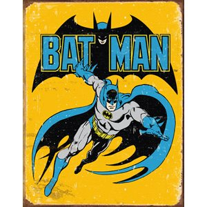 Batman yellow retro metal sign