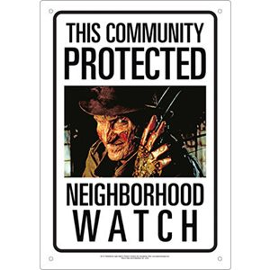 Neighborhood Watch Freddy Tin Sign