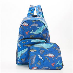 blue marine creatures backpack