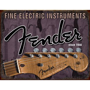 Enseigne metal Fender head stock