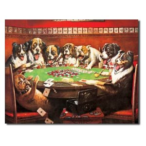 Dogs playing poker 12 x 16 metal sign