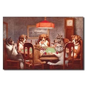 dogs playing cards 12 x 16 metal sign