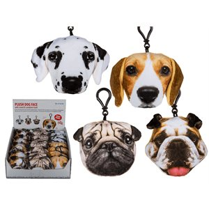 Clip dog face plush assorted D / 24