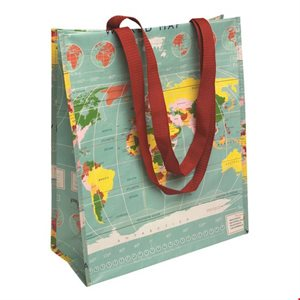 world map shopping bag