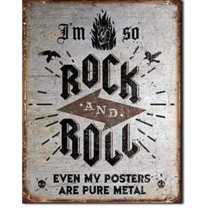 Enseigne Metal Rock N Roll 12x16