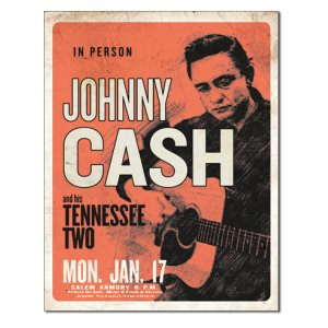 Enseigne Metal Johnny Cash 12x16