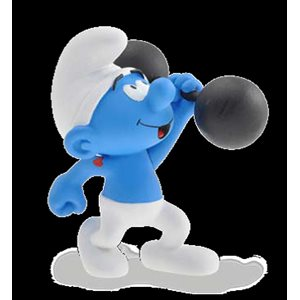 Smurf weightlifter Figurine